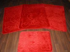 Oblong Non Slip Washable Two Tone Traveller/Gypsy Mat Set 4Pc Bows Red All Colours Available (2)